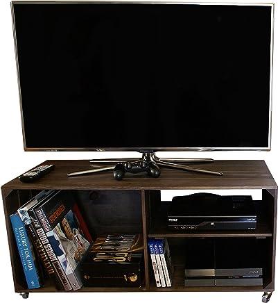 LIZA LINE MESA DE MADERA, Mueble TV con 3 Compartimentos y Ruedas Giratorias. Mueble Televisor de Pino Nórdico Macizo, Estilo Cajas Vintage con Estantes - 90 x 40 x 42 cm (Topo)