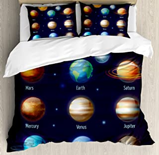 Ambesonne Educational Duvet Cover Set, Solar System Planets and The Sun Pictograms Set Astronomical Colorful Design, Decorative 3 Piece Bedding Set with 2 Pillow Shams, Queen Size, Space Purple