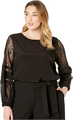 Plus Size Solid Long Sleeve with Lace Sleeve