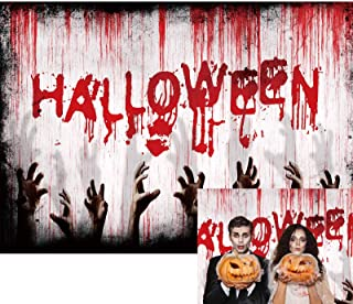 Allenjoy 7x5ft Halloween Festival Backdrop Bloody Drip Handprint Grunge Cement Wall Photography Background for Horrible Zo...