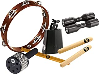 Meinl Percussion Essential Percussion Tambourine, Cowbell with Beater, Cabasa, Clave Pair and FREE Shaker, ES-PERC-PACK