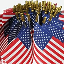 """product image for Hand Held American Flags on Sticks 60-Pack 4""""x6"""" Made in USA, Sold by Vets, American Quality, Vivid Colors, Rain Proof, Kid-Safe Spear Top. Perfect for Parades, Scout Troops, Returning Servicemen"""