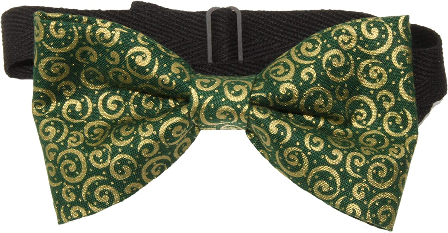 Men's Forest Green & Gold Scrolls Pre-Tied Adjustable Cotton Bow Tie