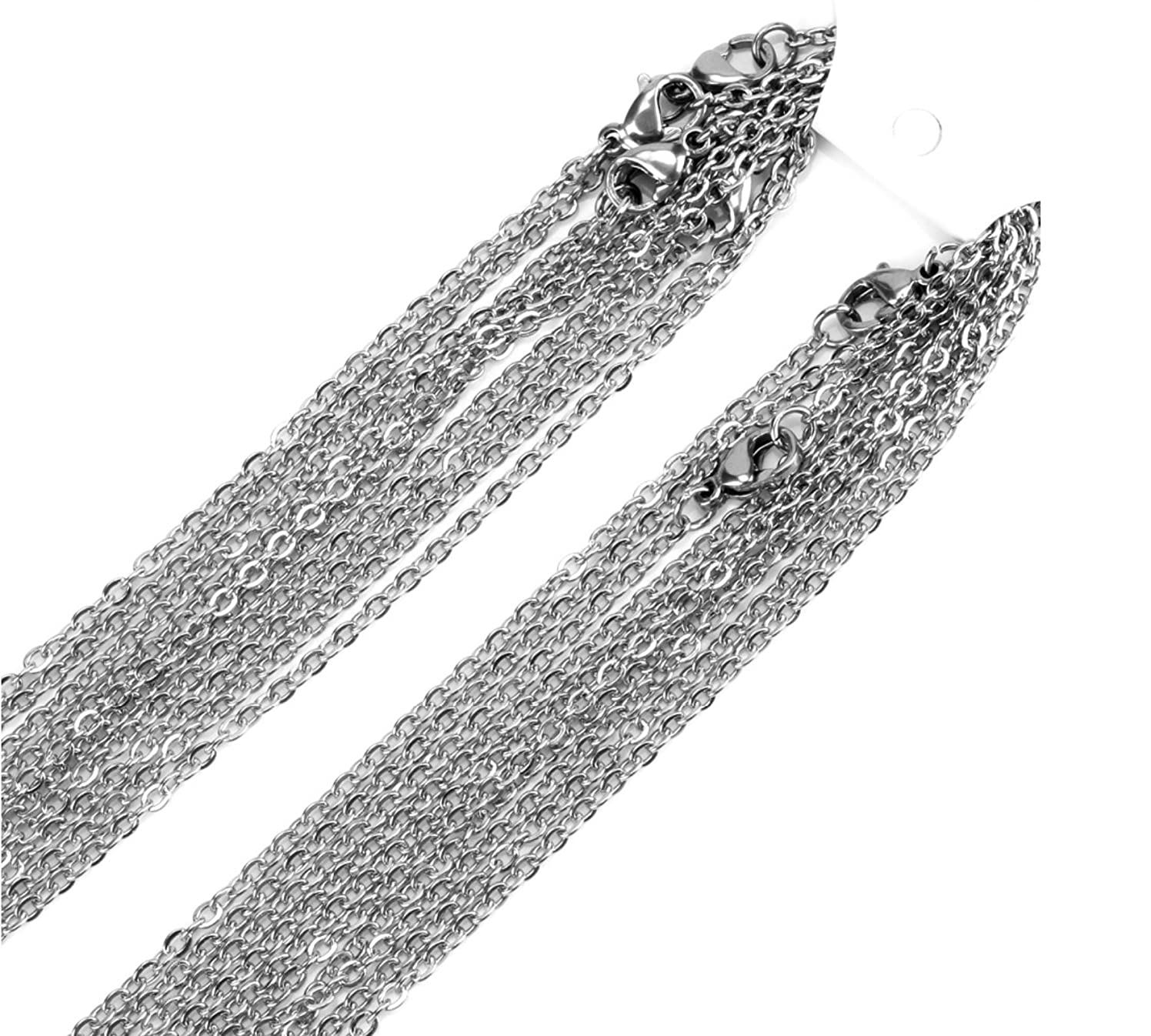 Cable Chains - Stainless Steel Finished Necklaces - Quantity 20 - Silver Tone (3mm, 18