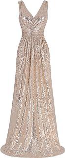 Kate Kasin Women Sequin Bridesmaid Dress Sleeveless Maxi Evening Prom Dresses