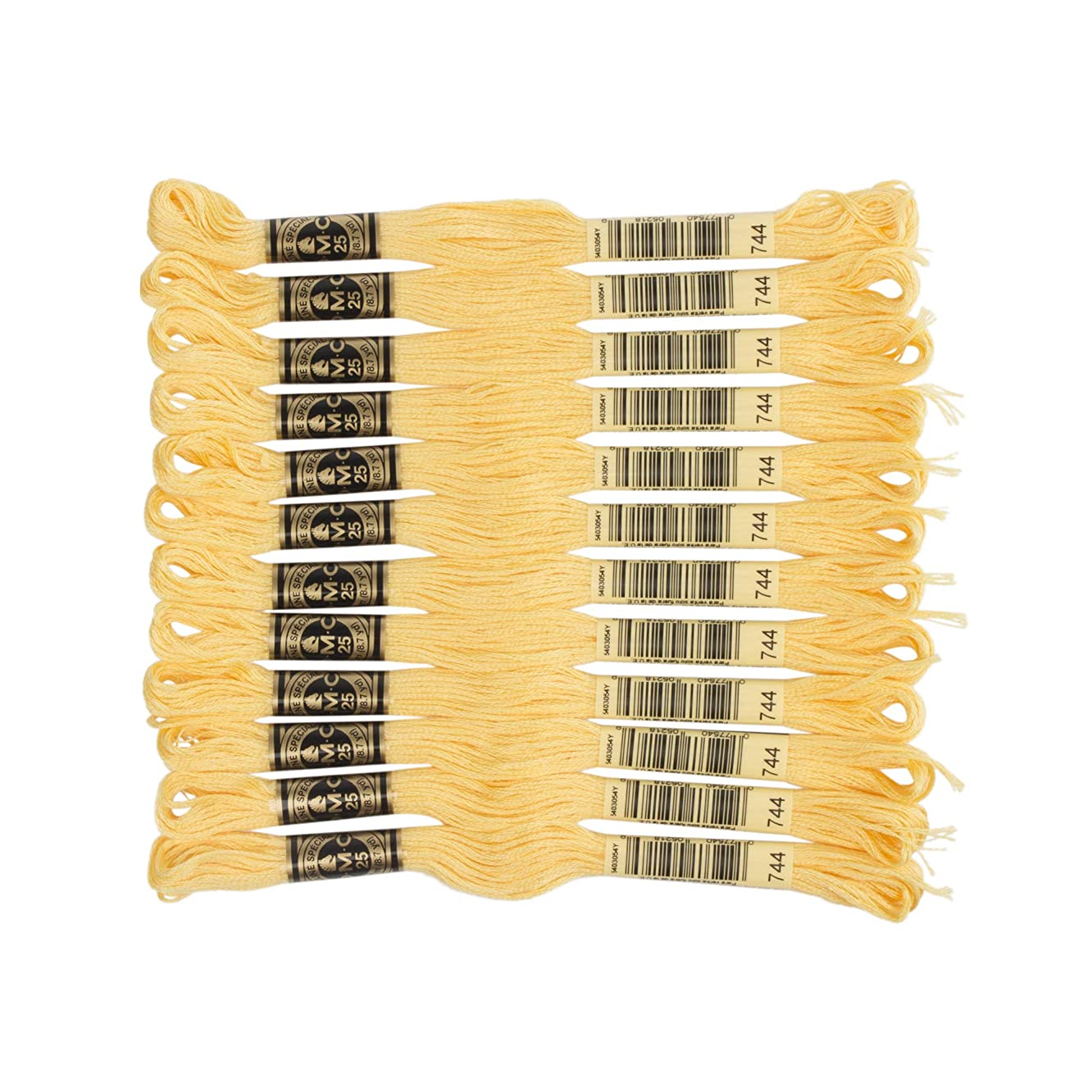 DMC 6-Strand Embroidery Cotton Floss, Pale Yellow ,Pack of 12