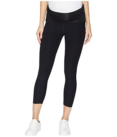 Beyond Yoga Fold Down Maternity Capri Leggings (Darkest Night) Women