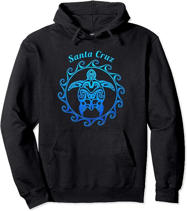 Santa Cruz California Ocean Blue Tribal Turtle Pullover Hoodie