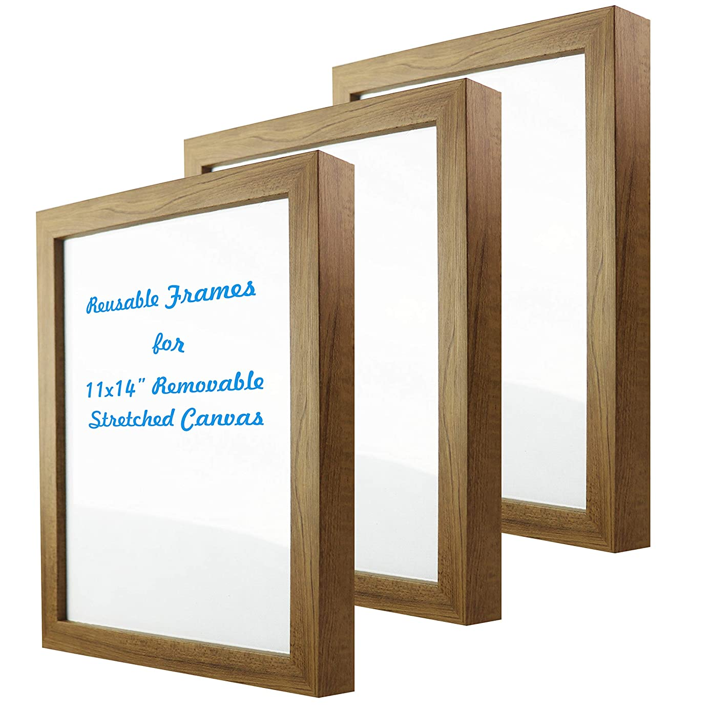 Natural art 11x14 Inch Removable Stretched Canvas with Reusable Frames Pack of 3 for Paintings Wood