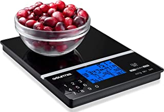 Gourmia GKS9190 Nutrition Scale Tempered Glass Kitchen Scale with Calorie Counter & Digital Touchscreen Display 5kg [11lb] Capacity Measures 22.4 x 15
