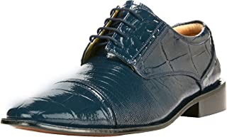Liberty Exotic Men's Crocodile/Lizard Print Oxford Hand-Picked Non Leather Lace up Dress Shoes Exclusive Collection