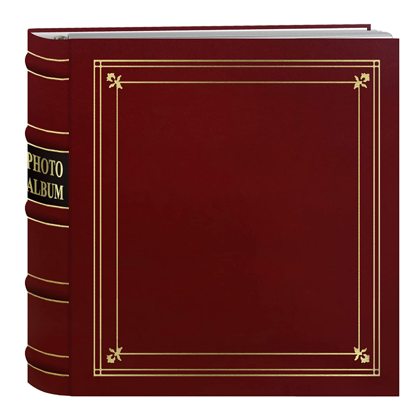 Pioneer Photo Albums 200-Pocket Ring Bound Red Bonded Leather with Gold Accents Cover Photo Album for 4 x 6-Inch Prints