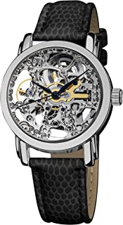 Akribos XXIV Women's Skeleton Automatic Stainless Steel Exhibition Dial Silver Black Genuine Leather Strap Watch - AK431