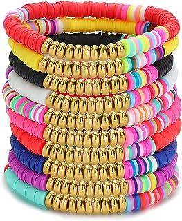LOLIAS 10 Pcs African Surfer Bracelets for Women Boho Colorful Rainbow 6mm Bead Bracelet Set Handmade Elastic Rope Surf St...