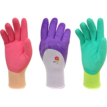 Women Gardening Gloves with Micro Foam Coating - Garden Gloves Texture Grip - Women's Work Gloves 3 Pair Pack - Working Gloves For Weeding, Digging, Raking and Pruning