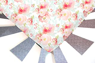 Little Moose by Liza Handmade Sheet Made to Fit Moses Basket in Indy Bloom Plush Floral (Watercolor Flowers).