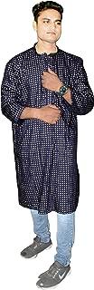 Lakkar Haveli Men's Cotton Shirt Casual Tunic Ethnic Gold Print Kurta Blue Color Plus Size
