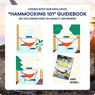 "Handwoven Family-Size Hammock, Shareable, Weathersafe Hammocks, Yellow Leaf Hammocks - ""Big Sur"" Hammock, Natural Khaki, Fits"