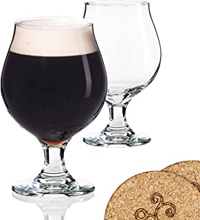 2 Libbey Beer Glasses Belgian Style Stemmed Tulip - 13 oz Lambic Ale Dark Beer Glass - set of 2 w/coasters - Classic Premium Glassware - Birthday Housewarming Bachelor party gift for men idea