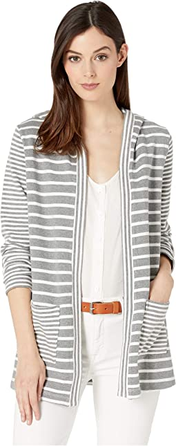 Stripe Sweater Mix Hooded Patch Pocket Cardigan