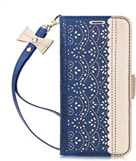 WWW iPhone Xs Max Case,iPhone Xs Max Wallet Case, [Luxurious Romantic Carved Flower] Leather Wallet Case with [Inside Makeup Mirror] and [Kickstand Feature] for iPhone Xs Max 6.5'' (2018) Navy Blue