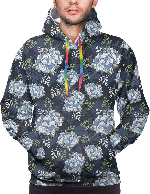 Men's Hoodies Sweatshirts,Shabby Chic Botany Florets in Soft Tones Feminine Flourishing Wreath Watercolor Design