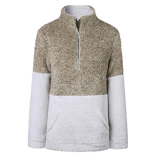 5f412ce587 BTFBM Women Long Sleeve Zipper Sherpa Sweatshirt Soft Fleece Pullover  Outwear Coat