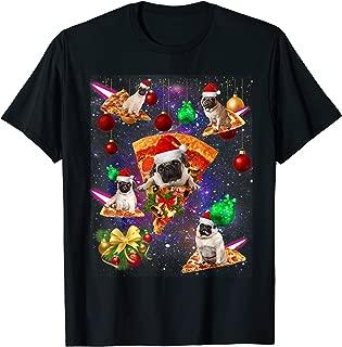 Space Santa Pug Riding Pizza Galaxy-Pug Christmas Pajama T-Shirt