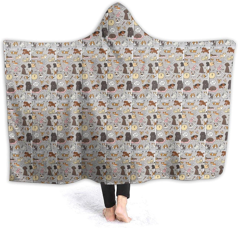 Houston Mall KAWAHATA Cartoon Bone Dogs 2021 model Hooded Wearable Throw Flannel Blanket