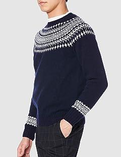 Yoke Pattern Crewneck Sweater M3170: New Navy / Winter White