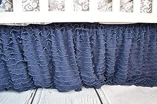 Navy Blue Crib Skirt for Baby Girl Nursery Bedding Dust Ruffle