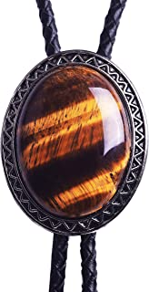 Bolo Tie with Natural Tiger Eye Stone Celtic Style Genuine and Cowhide Rope (CABT003)