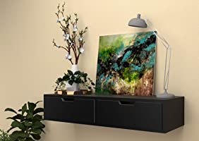 Vudy Exclusively Launched Wall Shelf with Drawer for Living Room , Storage and Home Decorative Items (Black)