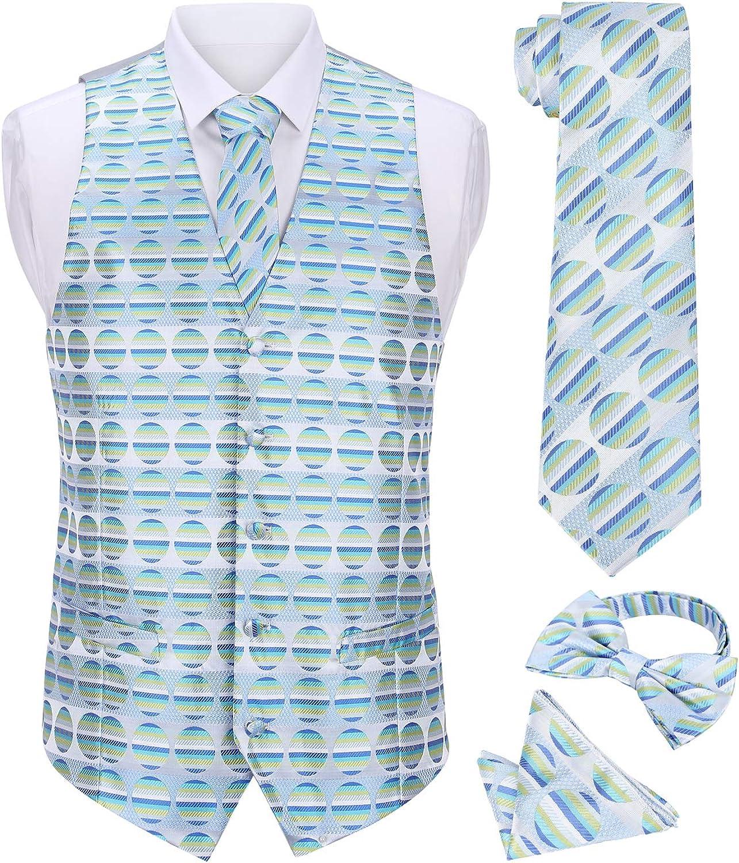 Dress U Up Men's 4pc Fancy Vest Set(Including Vest+Neck tie+Neck Bow+Handkerchief)