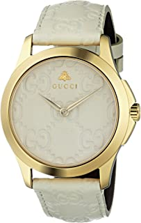 Gucci Quartz Gold-Tone and Leather Casual White Watch(Model: YA1264033)