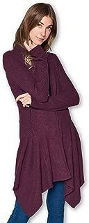 Women's Open Front Rib Knit Classic Asymmetric Long Cardigan