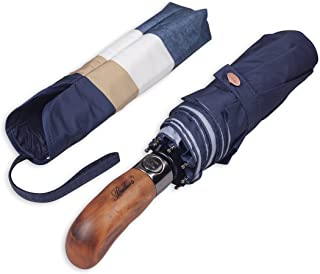 Balios Prestige Travel Folding Umbrella, Handmade Wood Handle, Auto Open & Close