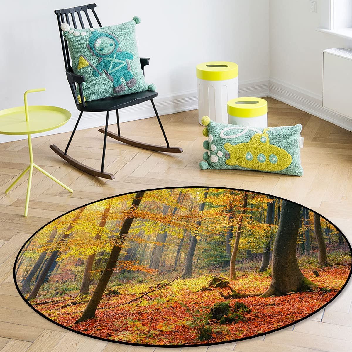 Savannan Max 56% OFF Round Area Rug Max 53% OFF Forest Nature Autumn Maple Tree Leaves