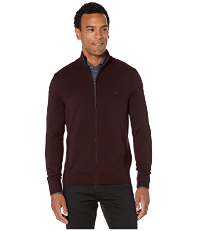 Calvin Klein Merino Full Zip Sweater (Dark Chestnut) Men