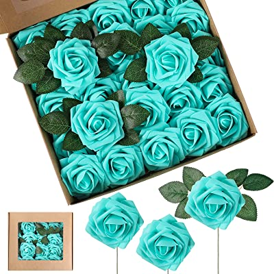 Artificial Foam Rose Flowers Vintage Fake Roses DIY Bouquets Boutonnieres with Leaves and Stems for Wedding Bridal Shower Banquet Party Centerpieces and Home Decor (Turquoise,25 Pieces)