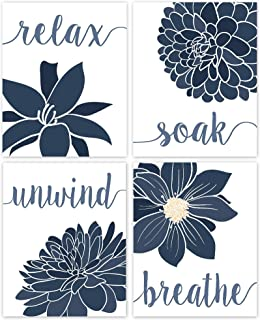 Relax, Soak, Unwind, Breathe Blue & White with Gray Tone Bath Flower Poster Prints, Set of 4 (8x10) Unframed Photos, Wall ...