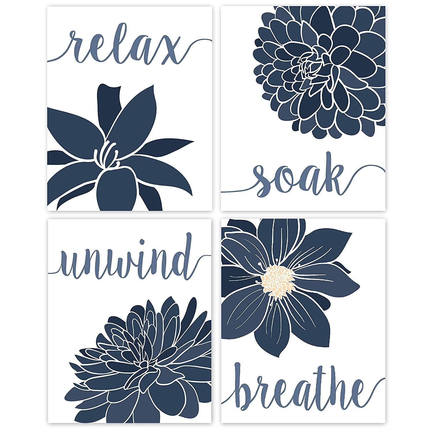 free shipping Relax Soak Unwind Breathe Blue with Tone White Gray Financial sales sale Flowers
