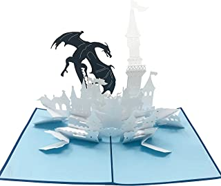 WOW Dragon Castle - 3D Pop Up Greeting Card for All Occasions Birthday,Love,Congratulations,Good luck,Anniversary,Get well,Good bye,Father's day,Retirement,Cool Fun Kids - Premium Paper, Handcrafted