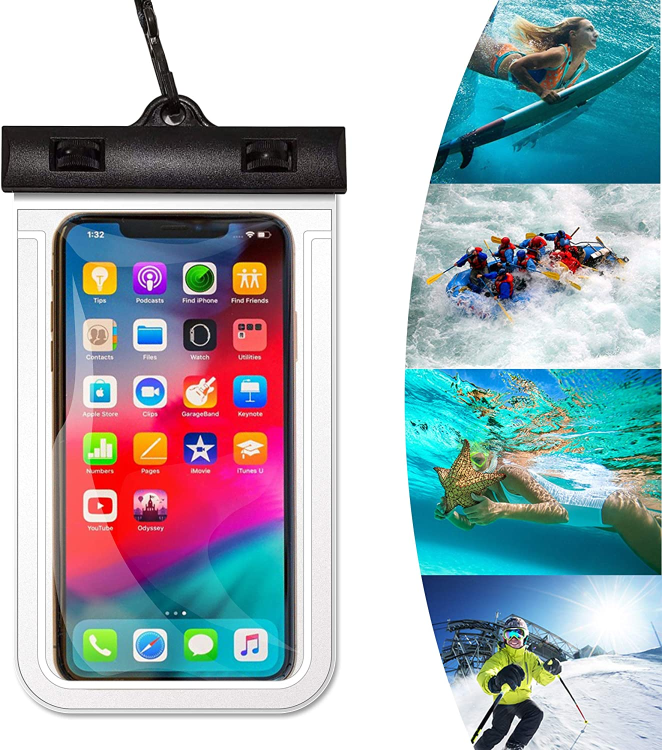 ESJFULI Waterproof Phone Pouch, Floating IPX8 Universal Waterproof Cell Phone Dry Bag case Up to 6.6 inch,ac at The Back of The Vomit Bag-Red