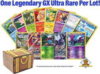 100 Pokemon Cards with 2 Legendary GX Ultra Rares - 3 Reverse Foils! Includes Golden Groundhog Treasure Chest Storage Box!