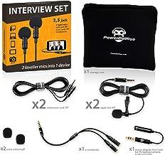 Professional Grade 2 Lavalier Lapel Microphones Set for Dual Interview - Dual Lavalier Microphone - 2 Lavalier Microphone Set - Perfect as Blogging Vlogging Interview Microphone for iPhone 6, 7, 8, X