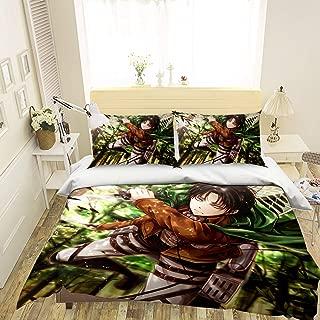 3D Attack On Titan 095 Japan Anime Game Summer Bedding Pillowcases Quilt Duvet Cover Set Single Queen King   3D Photo Bedding, AJ US Wendy (Queen)