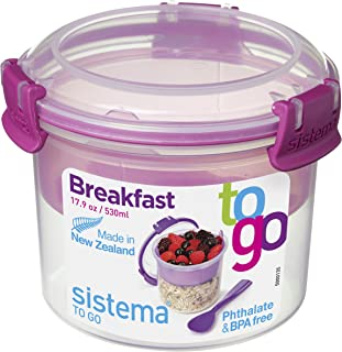 Sistema To Go Collection Breakfast Bowl Food Storage Container, 17.9 oz./0.5 L, Clear/Pink