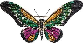 BriLove Women's Bohemian Boho Crystal Beaded Butterfly Enameled Brooch Pin