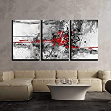 wall26 - 3 Piece Canvas Wall Art - Highly Detailed Grunge Abstract Textured Collage with Space for Your Text - Modern Home Decor Stretched and Framed Ready to Hang - 24